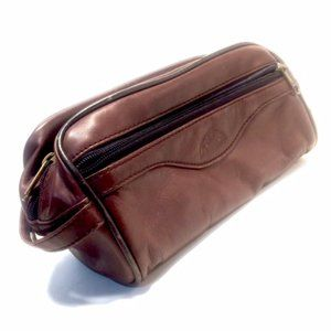 Dopp Brand Brown Leather Toiletry Shave Travel Kit